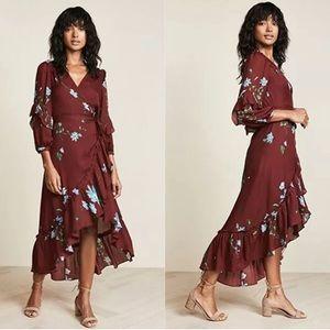 NWT JOIE Anawrette Burgundy Floral Wrap Dress XS